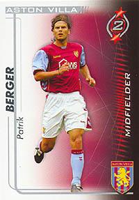 TOPPS MATCH ATTAX 2007-08 TRADING CARD-ASTON VILLA-PATRIK BERGER