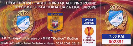 TICKET Stub UEFA EL 2009//10 FK Teplice Hapoel Tel Aviv